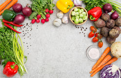 Vegetables on a stone countertop. Food background cooking ingredient kitchen concept meal vegetarian vegetable health top view space board table blank brown stock photography