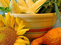 Vegetables and Sunflowers. Bowl of autumn harvest Royalty Free Stock Image