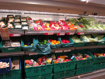 Vegetables on a supermarket display. Royalty Free Stock Image