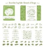 Vegetables and swirl for design stock illustration