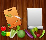 Vegetables on the table with paper and a knife. On a cutting board vector illustration