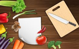 Vegetables on the table with paper and a knife on a cutting board. Illustration of Vegetables on the table with paper and a knife on a cutting board stock illustration