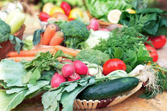 Vegetables on table in wicker basket. Fresh organic vegetables on table in wicker basket Royalty Free Stock Image