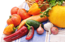 Vegetables on tablecloth. Stock Photography