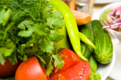 Vegetables on the tables Royalty Free Stock Images
