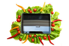 Vegetables and a Tablet PC Stock Image