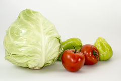Vegetables. There are some vegetables: tomatoes, peppers and cabbage Stock Images