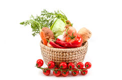 The vegetables together. Different vegetables such as carrots, tomatoes, peppers, chicory, garlic Stock Photo