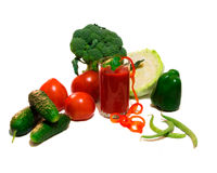 Vegetables and tomato juice. Still-life with fresh vegetables and tomato juice Royalty Free Stock Photography