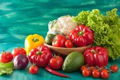 Vegetables tomato pepper avocado onion cauliflower lettuce Stock Photos