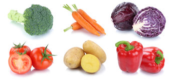 Vegetables tomatoes bell pepper carrots fresh potatoes collectio Royalty Free Stock Images