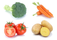 Vegetables tomatoes carrots fresh potatoes collection isolated Stock Photos