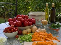 Vegetables, tomatoes, onions, chopped celery, carrot and basil leaves on the table with bottles of olive oil and balsamico vinegar. Preserving jars, cooking royalty free stock image