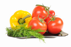 Vegetables - Tomatoes, peppers Stock Images