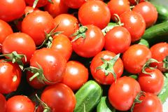 Vegetables - Tomatos and cucumbers Stock Image