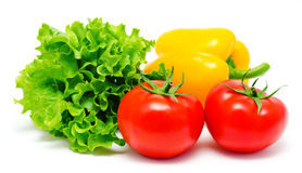 Vegetables tomatos lettuce and paprika isolated Royalty Free Stock Photo