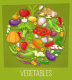 Vegetables top view frame. Farmers market menu design. Organic food poster. Vintage hand drawn sketch vector Stock Photos