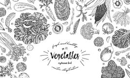 Vegetables top view frame. Ink hand drawn vector illustration. Farmers market menu design template. Organic vegetables
