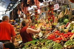 Vegetables and tropical fruits in the Central market in Barcelona Stock Photography