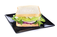 Vegetables and turkey ham sandwich Stock Photos