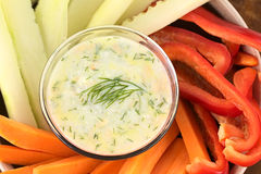 Vegetables with Tzatziki Stock Images