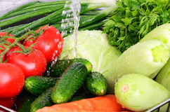 Vegetables under running water horizontal closeup 0729 Stock Photo