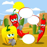 Vegetables using a smartphone in the desert with speech bubble Stock Image