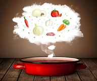 Vegetables in vapor cloud Stock Photo