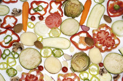 Vegetables,various cut vegetables on a white background Stock Photography