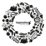 Vegetables vector black icons on white background Stock Photography