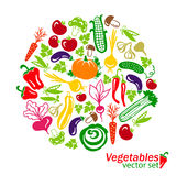 Vegetables vector colored icons Stock Photos