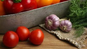 Vegetables, vegetables on the table. corn, cauliflower, tomatoes, champignons, chili peppers. Vegetables, vegetable arrangement, vegetables, vegetables on the stock video footage