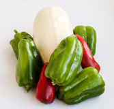Vegetables vegetable marrow, pepper red and green Stock Images