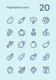 Vegetables and vegetarian food outline flat vector icon set for web and mobile design. 20 flat outline vector icons Stock Illustration