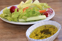 Vegetables with vinaigrette Royalty Free Stock Photos