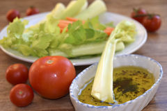 Vegetables with vinaigrette Stock Photography