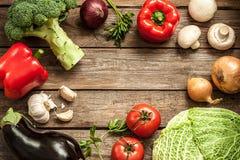 Vegetables on vintage wood background - autumn harvest royalty free stock photo