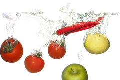 Vegetables in water Stock Photos