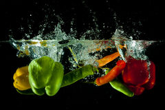 Vegetables water splash Royalty Free Stock Photography