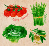 Vegetables watercolor lettuce, cherry tomatoes,. Vegetables set drawn watercolor blots and stains with a spray lettuce, cherry tomatoes, asparagus, olives on Stock Photo