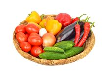 Vegetables in a wattled basket Stock Image