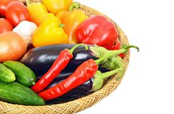 Vegetables in a wattled basket Royalty Free Stock Photo