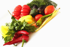 Vegetables on the white background Stock Photos