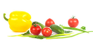 Vegetables on the white background. Composition of vegetables on the white background Stock Images