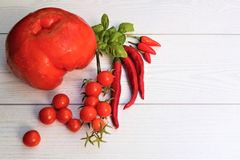 Vegetables on white background. fresh red vegetables. Tomatoes, peppers. Flat lay, copy space stock image