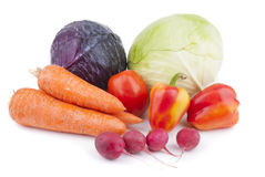 Vegetables on a white background. The fruits of vegetables from the garden Royalty Free Stock Photo