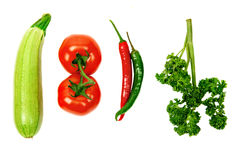 Vegetables on a white background Stock Photos