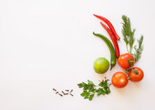 Vegetables on a white background. Tomato and chili, dill and parsley, spice on the white background Royalty Free Stock Photos
