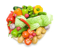 Vegetables on a white background - top view Royalty Free Stock Photos