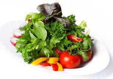 Vegetables on a white plate Stock Photography